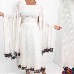 Vintage 60s Maxi Dress Cotton Gauze W/ Shawl